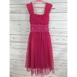 Girls pink floral beaded  sequins ❤️ dress